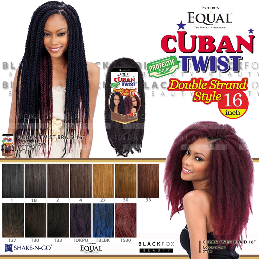 Freetress Equal Cuban Twist Braid Double Strand Style 16 Braiding